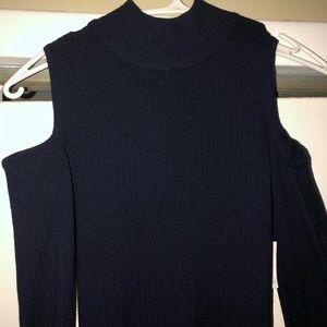 Dresses & Skirts - Dark Navy Blue Bodycon Long sleeve Ribbed Dress